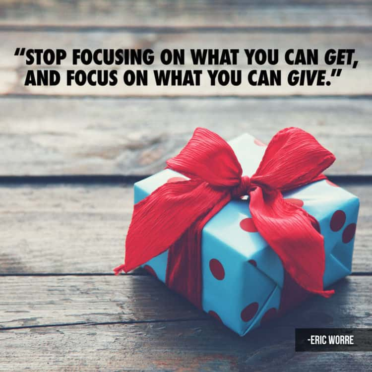 Focus on what you can Give